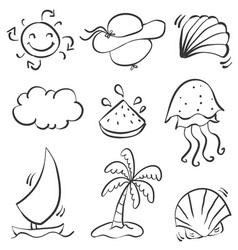 doodle of summer beach object vector image vector image