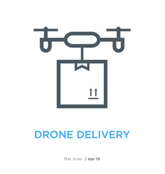 Drone delivery line flat icon vector