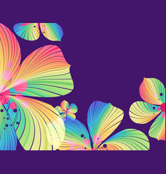 Floral background multicolored flowers on purple vector