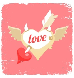 flying heart with arrow inside vector image
