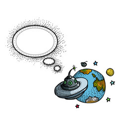 flying saucer and planet-100 vector image vector image