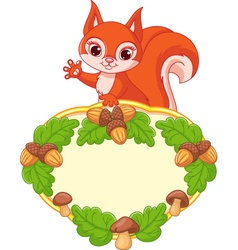 Frame with squirrel vector
