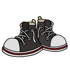 Funny black sneakers vector image vector image