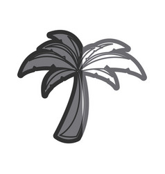 Gray thick contour of palm tree vector