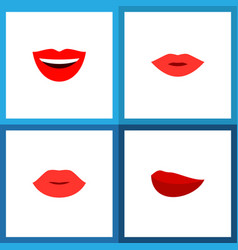Icon flat mouth set of mouth laugh lipstick and vector