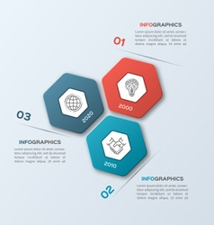 Infographic template with hexagons 3 options vector
