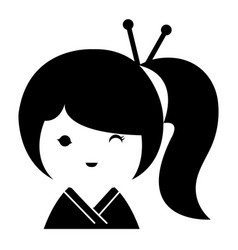 little japanese doll kawaii character vector image