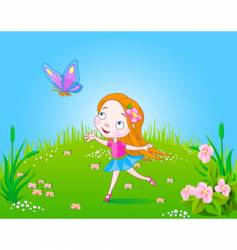 meadow girl vector image vector image