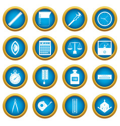Measure precision icons blue circle set vector