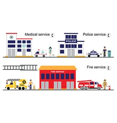 Medical police and fire service vector