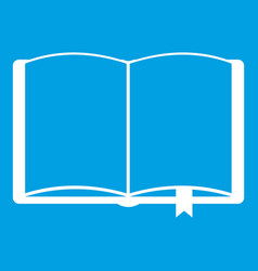 Open book with bookmark icon white vector