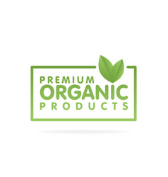 Premium organic products banner text and frame vector