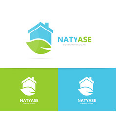 Real estate and leaf logo combination vector