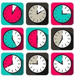 Retro Flat Design Clock Set vector image vector image