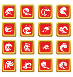 sea waves icons set red vector image