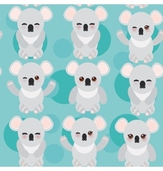 Seamless pattern -funny cute koala on blue vector
