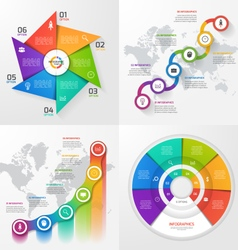 Set of 4 infographic templates with 6 options vector