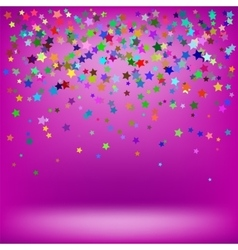 Set of colorful stars on soft pink background vector