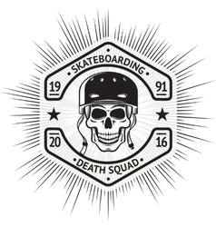 Skateboarding vintage label with skull in helmet vector