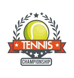 Tennis championship ball star banner vector
