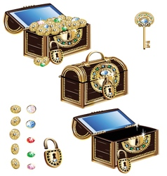 Treasure chest decorated with jeweled ornaments vector