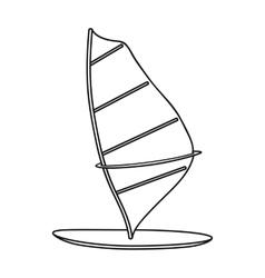 Windsurf board icon in outline style isolated on vector