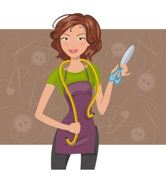 woman seamstress with scissors and meter vector image