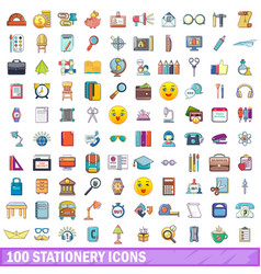 100 stationery icons set cartoon style vector