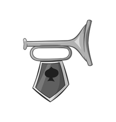 Trumpet with flag icon black monochrome style vector