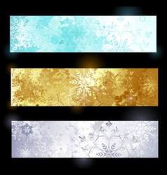 Grunge banner with snowflakes vector