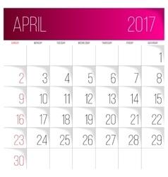 April 2017 calendar template vector image
