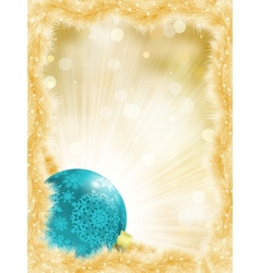 Christmas ball on golden lights EPS 8 vector image