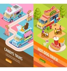Food Trucks 2 Vertical Isometric banners vector image