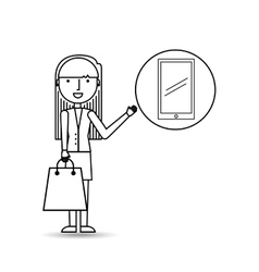 drawing girl shopping with smartphone vector image