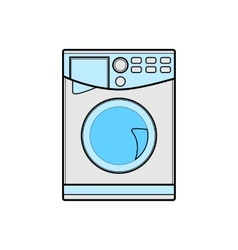 Symbol of washing machine color line art vector