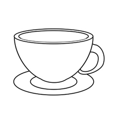 Coffee cup cappuccino plate thin line vector