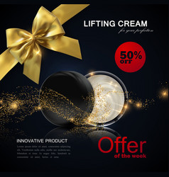 lifting facial cream ads poster template vector image