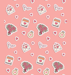 Wedding objects seamless pattern vector
