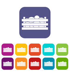 Watermelons in wooden crate icons set vector