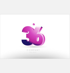 Number 36 black white pink logo icon design vector