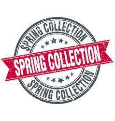 Spring collection red round grunge vintage ribbon vector