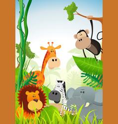 wild animals background vector image