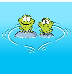 Frogs in love sitting on a stone in water with vector