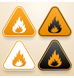 Set of triangular signs of danger of white black vector image