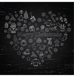 Chalk board merry christmas in the form of heart vector