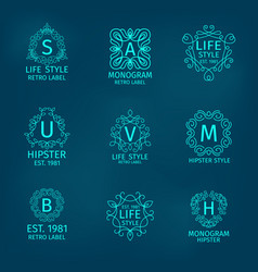 Monogram Hipster Set vector image