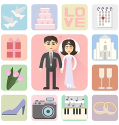 Wedding icons flat style vector