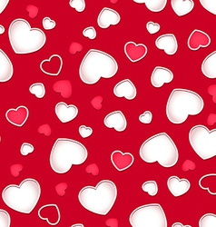 Cute hearts seamless pattern with a red background vector