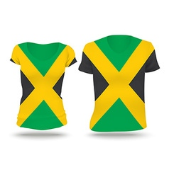 Flag shirt design of jamaica vector