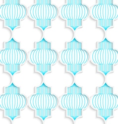 Colored 3d blue vertical chinese lanterns vector